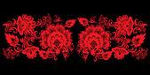 Black and red flower strip illustration — Stock Vector