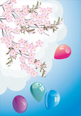 Spring tree branch and balloons — Stock Vector