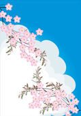Pink flower branches on sky background — Stock Vector