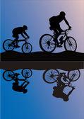 Dois ciclistas ao ar livre — Vetorial Stock