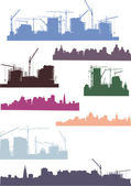 Large set of cities silhouettes — Stock Vector