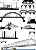Set of bridge silhouettes — Stock Vector