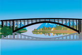 River bridge with reflection — Stock Vector