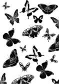 Background with many black butterflies — Stock Vector