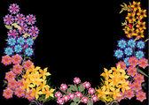 Kleine halve bloemenlijst geïsoleerd op zwart — Stockvector