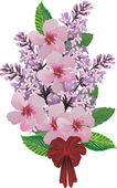 Bouquet with lilac flowers — Stock Vector