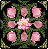 Illustration with pink lotus design — Stock Vector