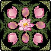 Ilustracja z lotosu różowy wzór — Wektor stockowy