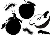 Caterpillars and apples silhouettes — Stock Vector