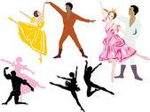 Ilustração de dançarinos de balé — Vetorial Stock