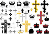 Cross and crowns set — Stock Vector