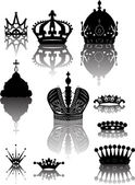 Ten crowns with reflections — Stock Vector