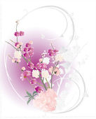 White and pink cherry tree flowers — Stock Vector