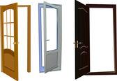 Tre isolerade dörrar samling — Stockvektor