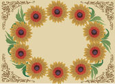 Yellow floral frame decoration on brown — Stock Vector