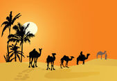 Carovana di cammelli nel deserto — Vettoriale Stock