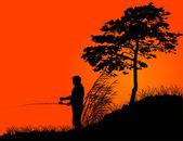 Fisherman silhouette at orange sunset — Stock Vector