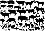 Collection of farm animals silhouettes — Stock Vector