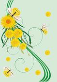 蝶と黄色い図 — ストックベクタ