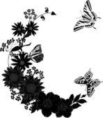 Trzy czarne motyle i kwiaty — Wektor stockowy