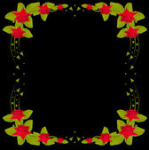 Red rose frame on black design — Vector de stock