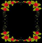 červená růže rám na černém designu — Stock vektor
