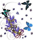 Iris curl en drie vlinders — Stok Vektör