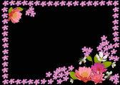 Telaio con fiorellini rosa e gigli — Vettoriale Stock
