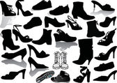 Collection of shoes silhouettes — Stock Vector