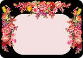 Pink on black frame with rose flowers — Stock Vector