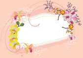 Pink and yellow orchid frame — Stock Vector