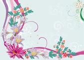 Rosa blommig hörnet med lily — Stockvektor