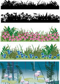 Five floral strips collection — Stock Vector