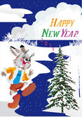 New year illustration with hare — Stock Vector