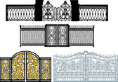 Collection of gates on white — Stock Vector