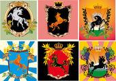 Set of frames with heraldic horses — Stock Vector