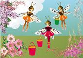 Arı kızlar ve çiçek şekil — Stok Vektör