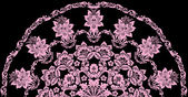 Pink half circle floral decoration — Stock Vector