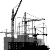 Casa edificios y grúas gris y negras — Vector de stock