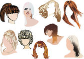 Nine color woman hairstyles — Stock Vector