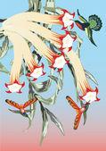花の近くの 3 つのハチドリ — ストックベクタ
