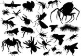 Twenty five insect silhouettes — Stock Vector