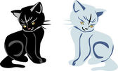 Black and white kittens on white — Stock Vector