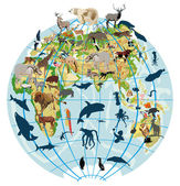 Earth globe with different animals — Stock Vector