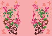 Rosa blume zweige mit schmetterlingen — Stockvektor