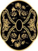 Gold, black and white flower design — Stock Vector