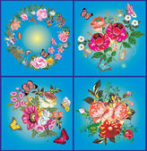 Flower and butterfly collection on blue — Stock Vector