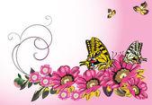 黄色的蝴蝶和粉色的花 — 图库矢量图片