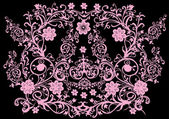 Symmetrical pink on black design — Stock Vector