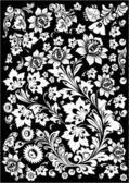 Vit inredning med blommor designade element — Stockvektor